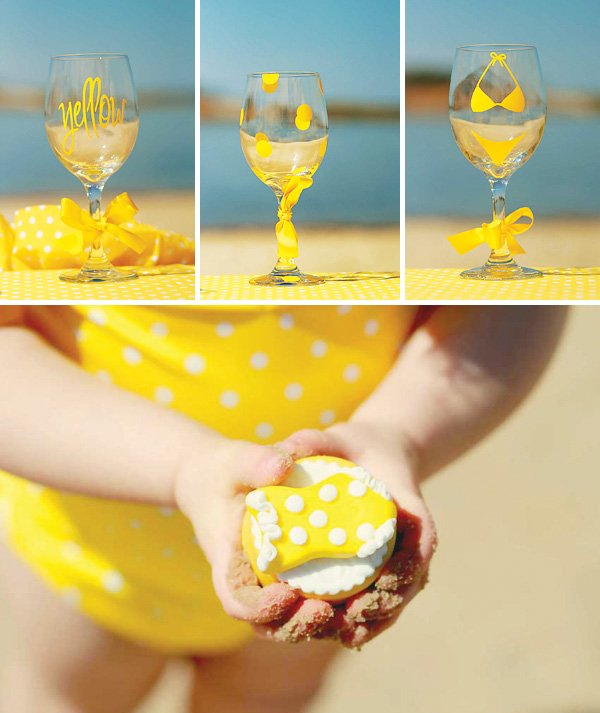 Goblets with painted polka dots and bikinis