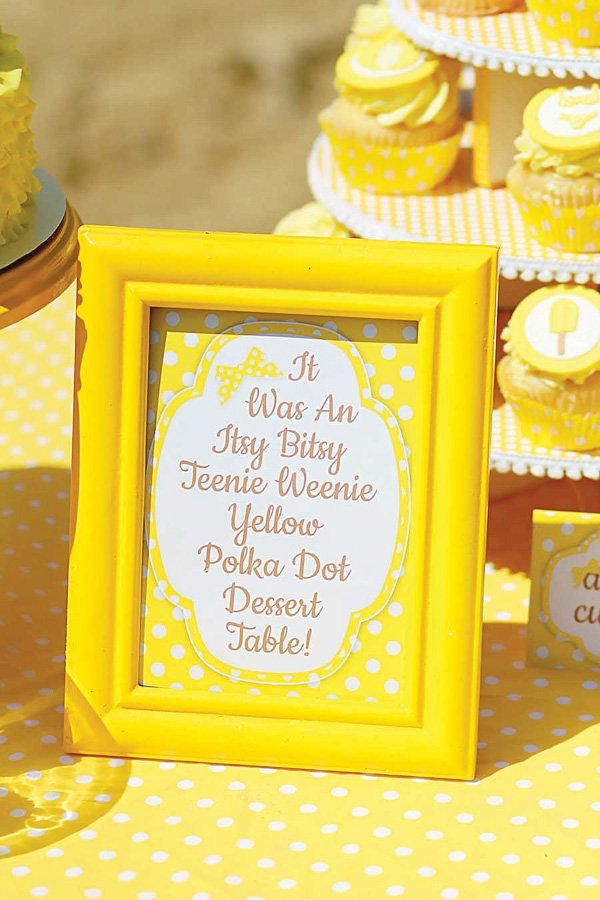 Yellow polka dot dessert table