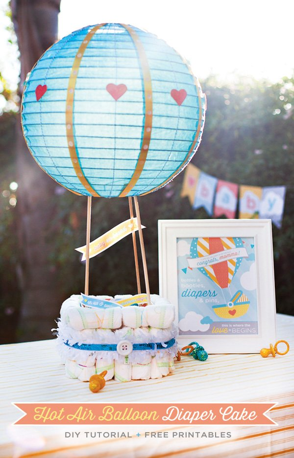 Hot Air Balloon Diaper Cake Tutorial Free Printables Hostess