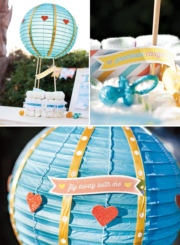hot air balloon diaper cake decorations