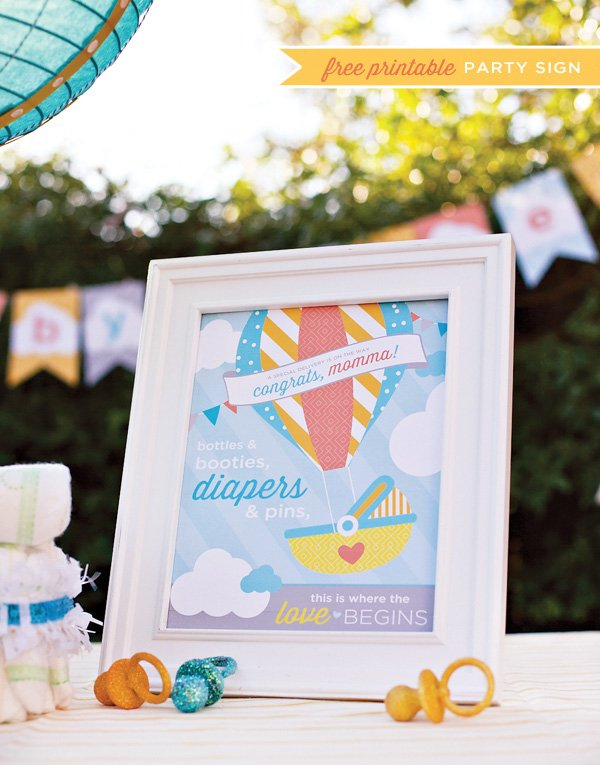 hot air balloon baby shower - printable party sign