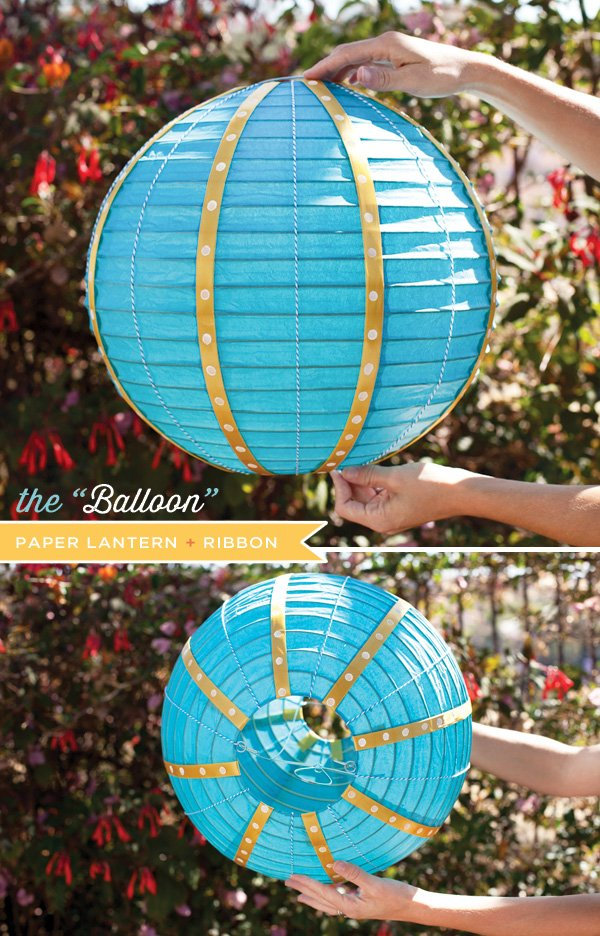 paper lantern hot air balloon diaper cake top