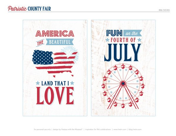 Free 4th of July Printable Party Signs by Hostess with the Mostess