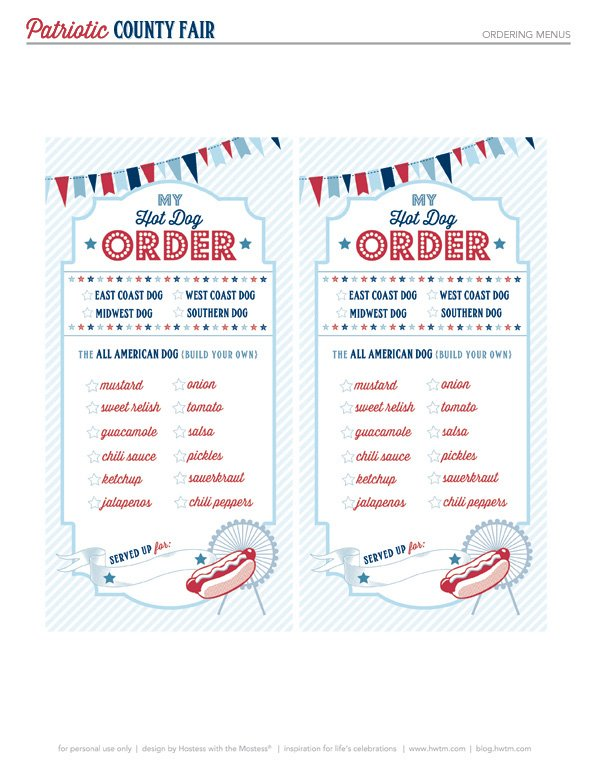 Hot Dog Order Checklist Free Printable