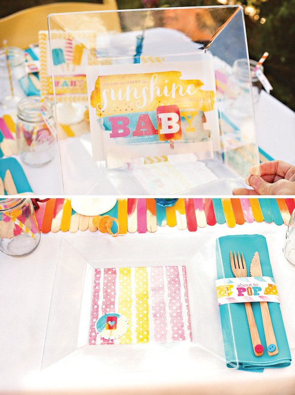 about to pop baby shower plates - colorful watercolor