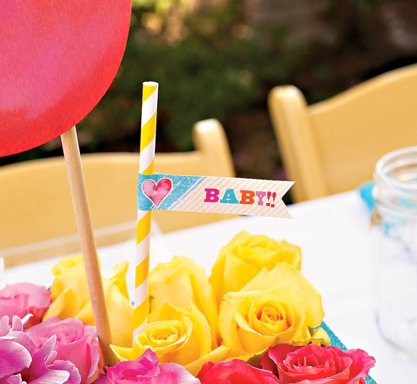 popsicle baby shower party flag and centerpiece