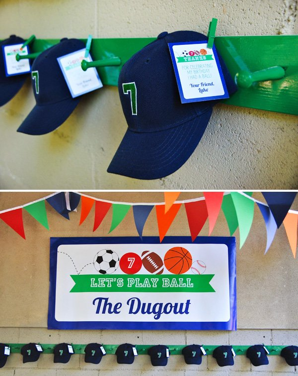Baseball Dugout with Party Favor Hats