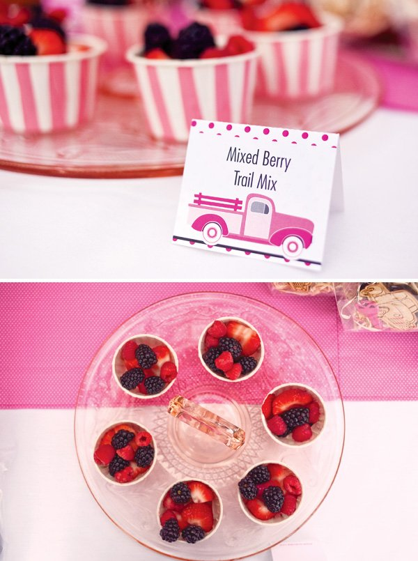 mixed berry trail mix in pink cups