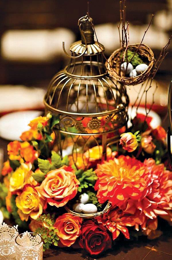Golden Birdcage Centerpiece