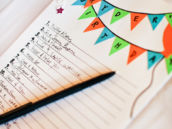 birthday guestbook with paper bunting