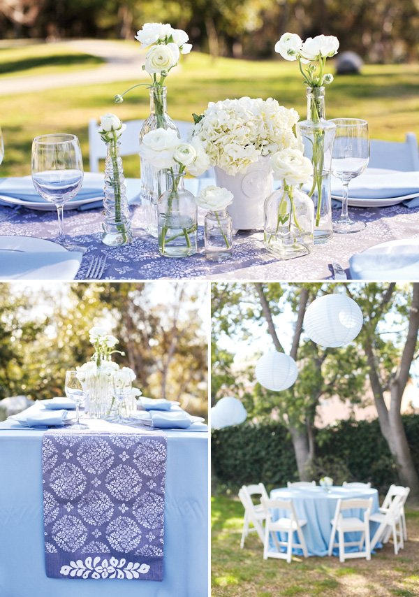 blue backyard baby shower table decorations