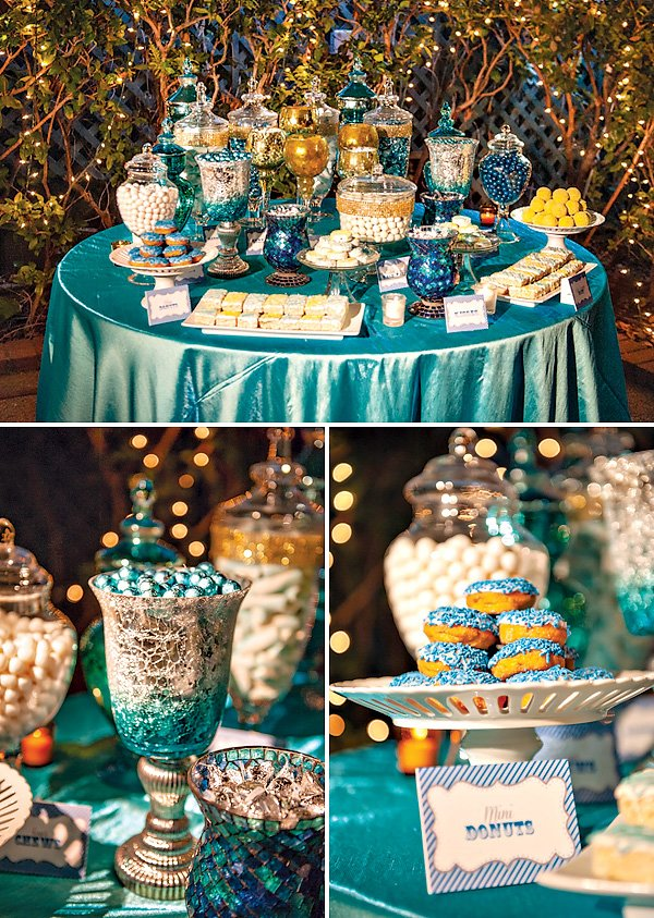 blue party candy table