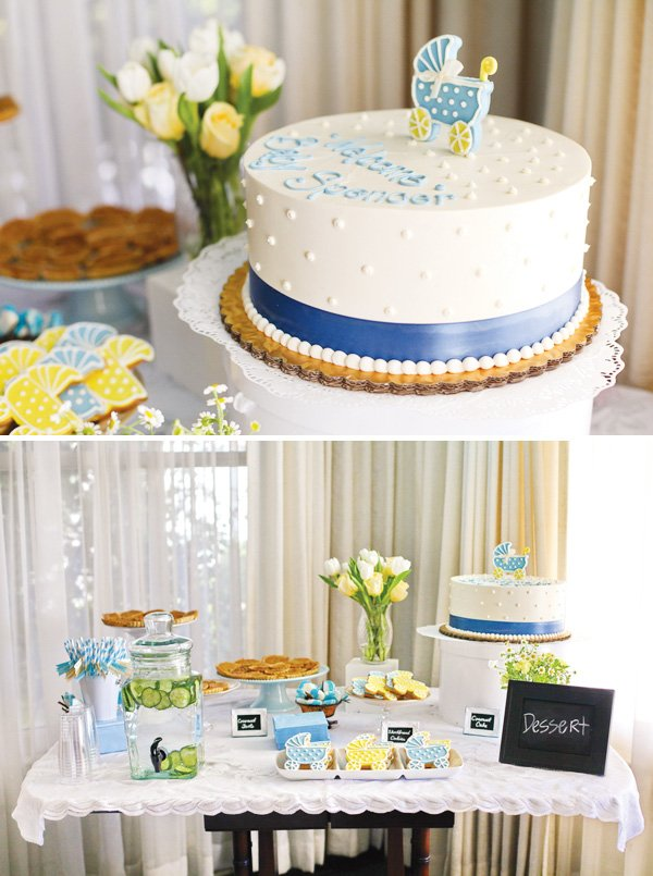Blue, yellow & white dessert table