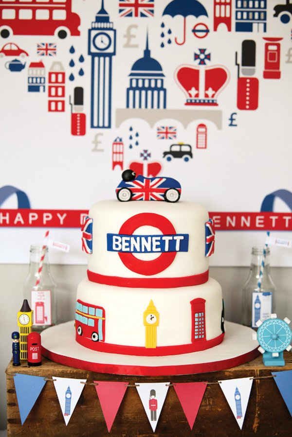 British inspired birthday cake