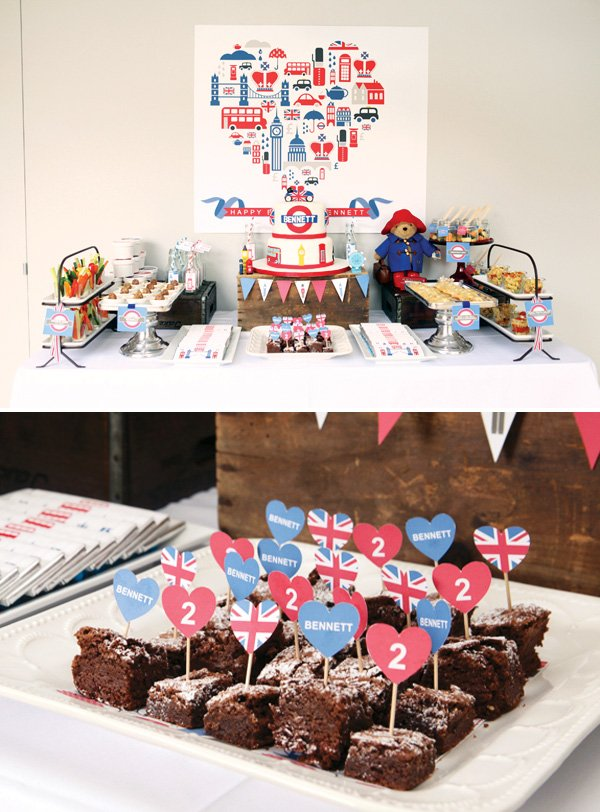 British inspired heart cupcake toppers