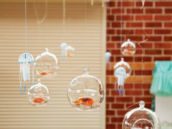 Fishnet Chandelier with floating bubble orbs & jellyfish
