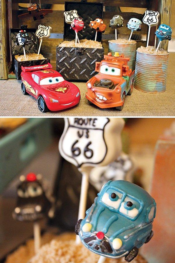 Cars themed cake pops