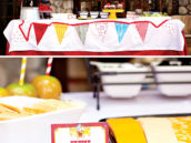 home made tablecloth with sewn on bunting