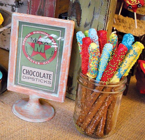 """Chocolate covered """"Dipsticks"""" Pretzel Sticks"""