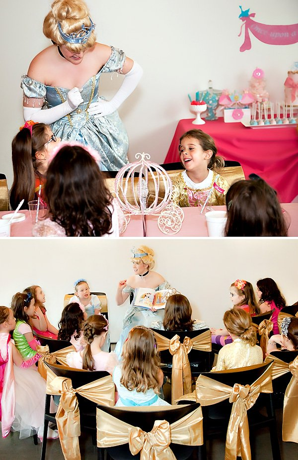 Princess birthday party with a story told by Cinderella