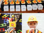 Construction Party Tablescape with cinderblock stools