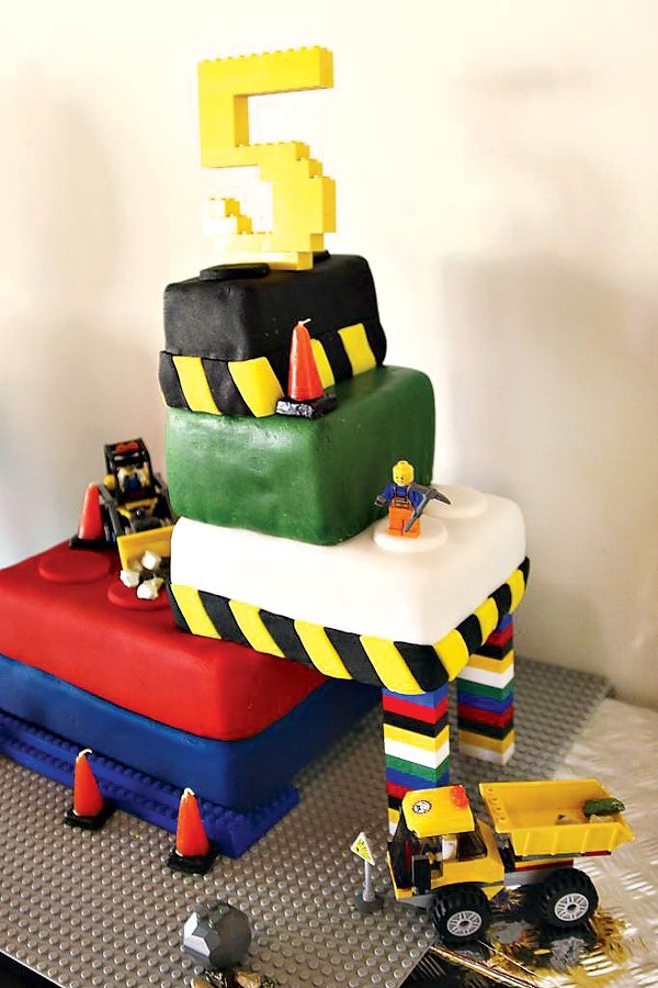 "Awesome lego inspired cake with lego ""5"" cake topper"