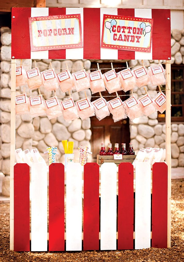 vintage carnival cotton candy stand