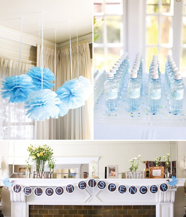 Lovely blue white backyard baby shower hostess with the mostess - Deco baby shower garcon ...