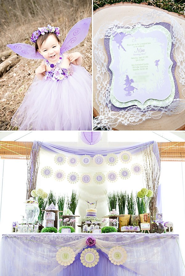 dreamy purple fairy party with pretty dessert table