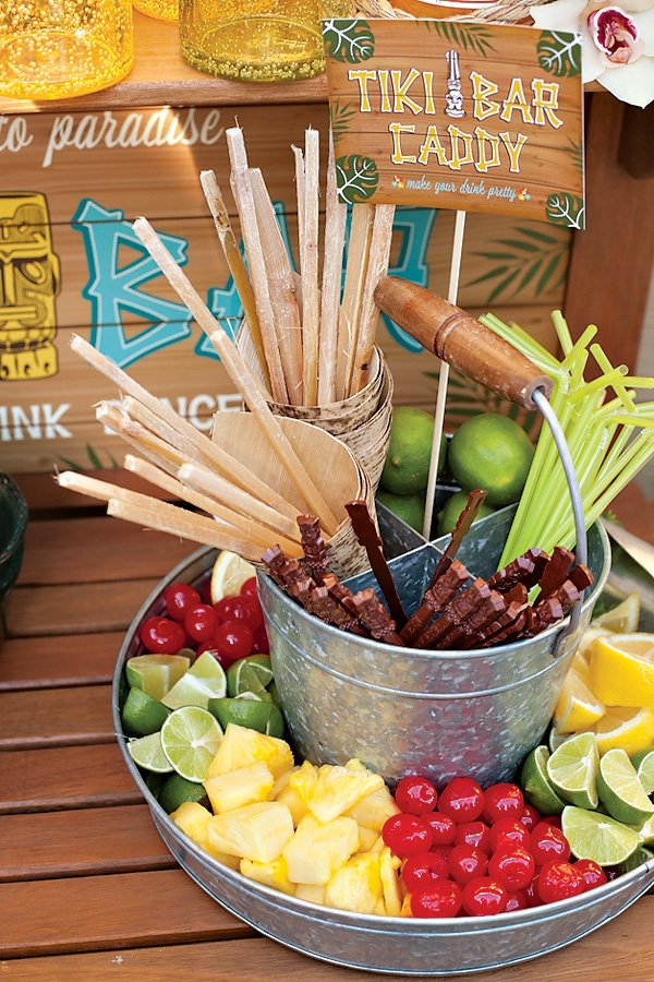 party luau tiki bar food drink tropical cocktail drinks recipes cocktails festive parties fiesta theme hawaiian sticks garnishes summer hwtm