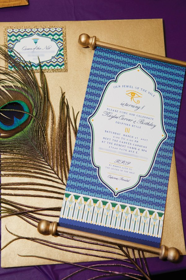 Egyptian Birthday Party Invitations on Scrolls