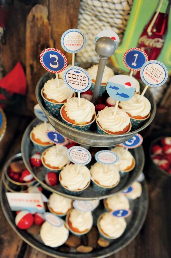 Cupcakes with Fishing Themed Printable Toppers