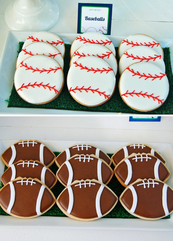 Baseball and Football Sugar Cookies