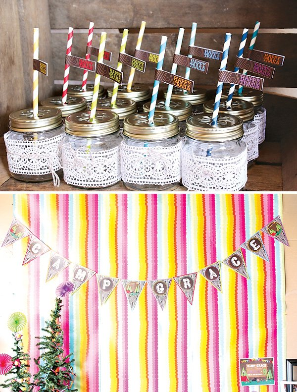 Lace wrapped mini mason jars with rainbow stripe straws