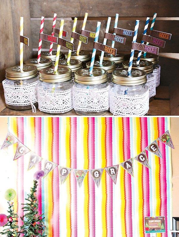 Lace wrapped mini mason jars with rainbow stripe straws