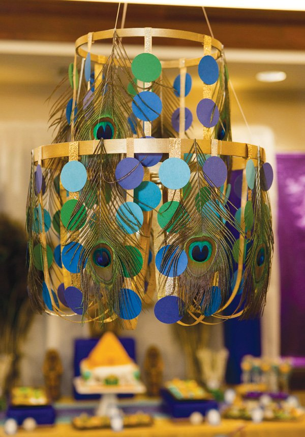 Gold, Blue & Green Chandelier with Peacock Feathers