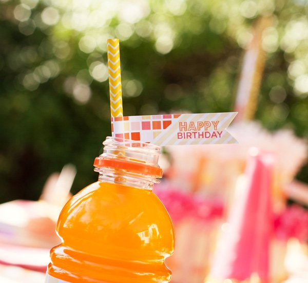 happy birthday summery party flag