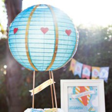 hot air balloon baby shower diaper cake
