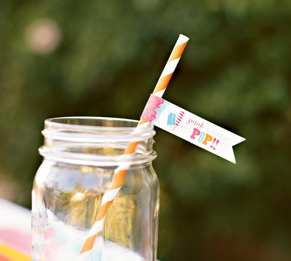 mason jar drink with about to pop party flags