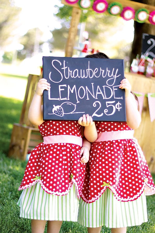 Strawberry Lemonade Sign & Strawberry themed dresses