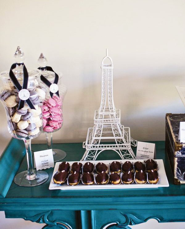 eiffel tower and macarons