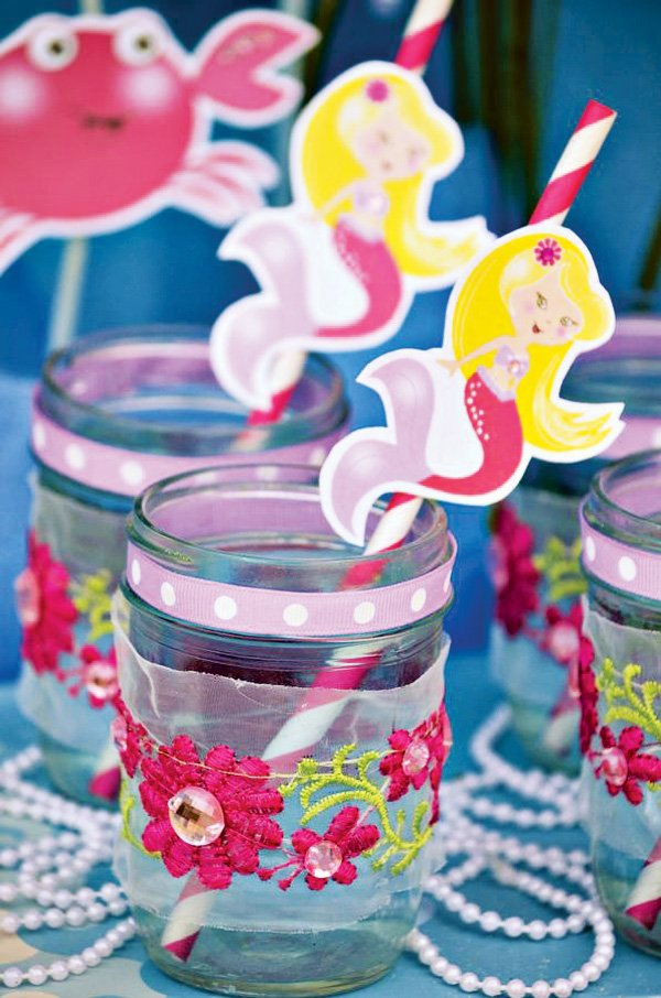 Mermaid Party Drinks with Ribbon and Embroidered Flowers