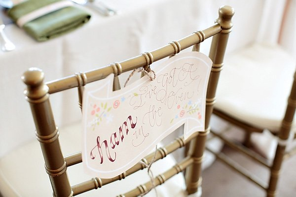 vintage hand-lettered chair back