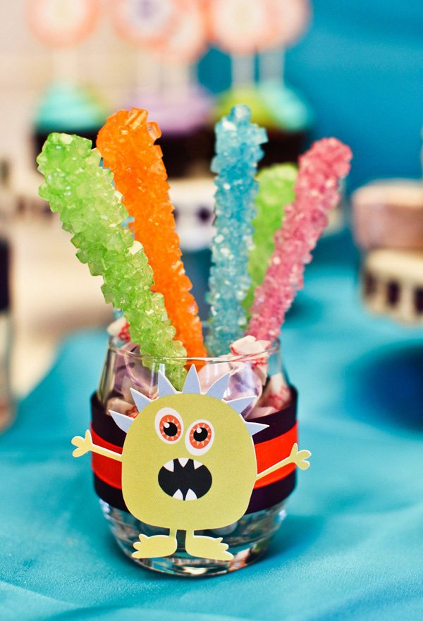 rock candy jar with monster wrapper
