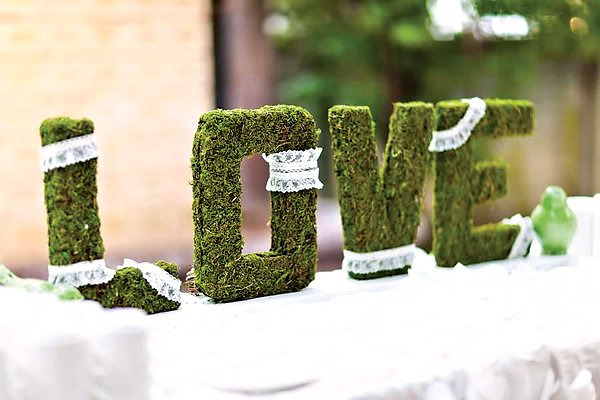 "Moss & Lace Covered ""LOVE"" Letters"