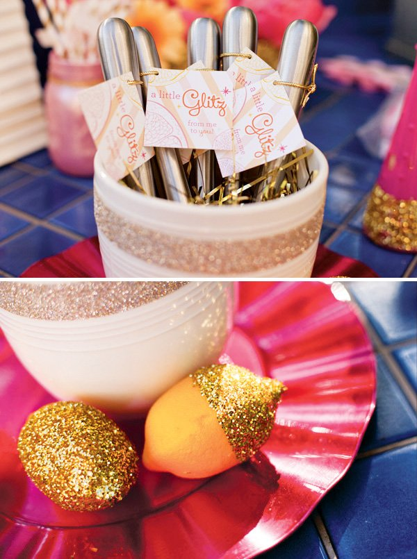 glittered lemons and cocktail party favors
