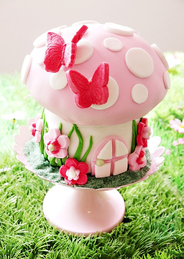 Pink Toadstool & Butterfly Birthday Cake