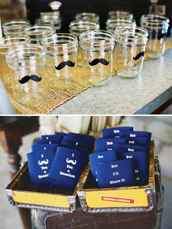mustache party koozies