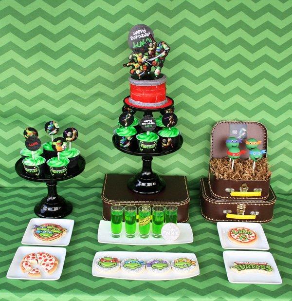 teenage mutant ninja turtle dessert table