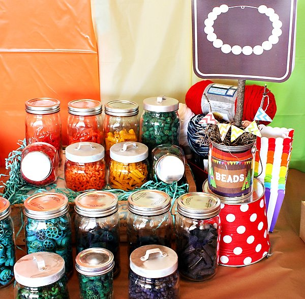 Colorful noodle necklace crafting station
